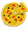 Pizza fast food illustration vector