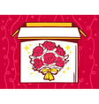 Open box with icon of bouquet of flowers vector