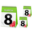 Calendar icon on march 8 vector