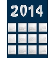 Dark blue calendar for 2014 vector