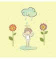 With an angel and flowers in the rain vector