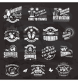 Travel and vacation labels on the chalkboard vector