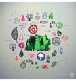 Hand drawn ecology icons set and sticker with vector