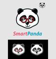 Smart panda geek symbol vector
