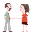 Man and woman holding hands isolated on whit vector
