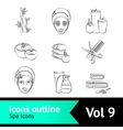 Outline spa icons set vector