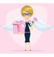 Female angel holding a bouquet of flowers and vector