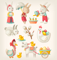 Easter toys and characters vector