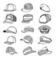 Cap set isolated on white hat icon baseball rap vector