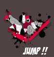 Jump board action with skateboard and snowboard vector