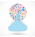 Cloud social network background with media icons vector