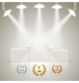 Illuminated sport winners pedestal with awards vector