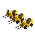 Three powered industrial forklift truck vector