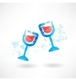 Wineglasses grunge icon vector