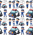 Seamless design with policemen and patrol cars vector