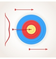 One arrow hits the center of a target vector