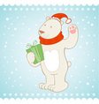 White polar bear christmas greeting card vector