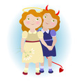 2 cartoon girls - devil and angel vector