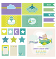 Baby bear on a plane - for birthday baby vector
