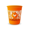 Plastic basket orange trash bins on white vector