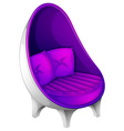 A lavender chair with throw pillows vector