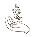 Human hand with leaves vector