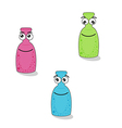 Funny bottles with eyes and smile vector