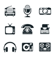 Black and white vintage device icons vector