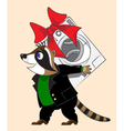 Raccoon and washing machine vector