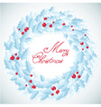 Christmas traditional wreath with holly berries vector