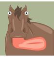 Funny cartoon horse showing tongue vector