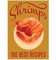 Retro poster with shrimp for restaurants vector