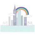 Rainbow cityscape scene vector