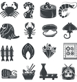 Seafood black icons collection vector