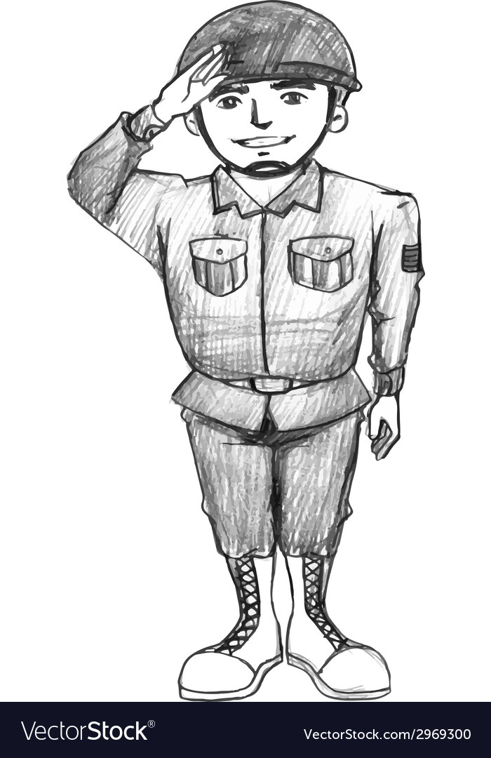 A sketch of a soldier vector | Price: 1 Credit (USD $1)