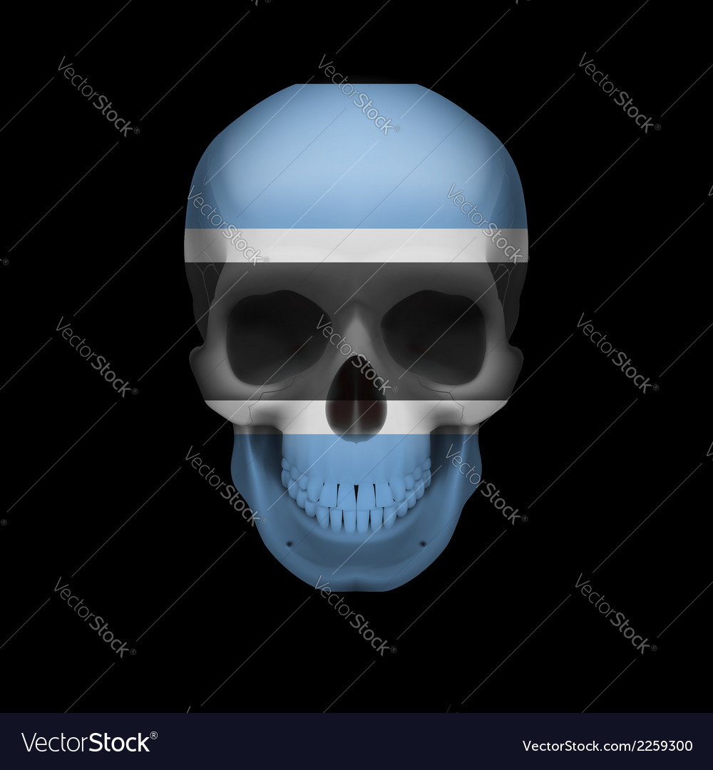Botswana flag skull vector | Price: 1 Credit (USD $1)