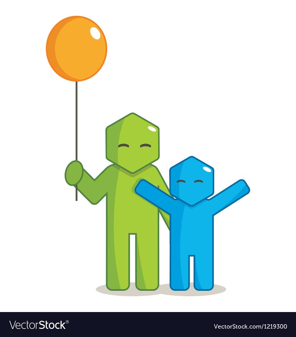Hexagon man - giving balloon vector   Price: 1 Credit (USD $1)