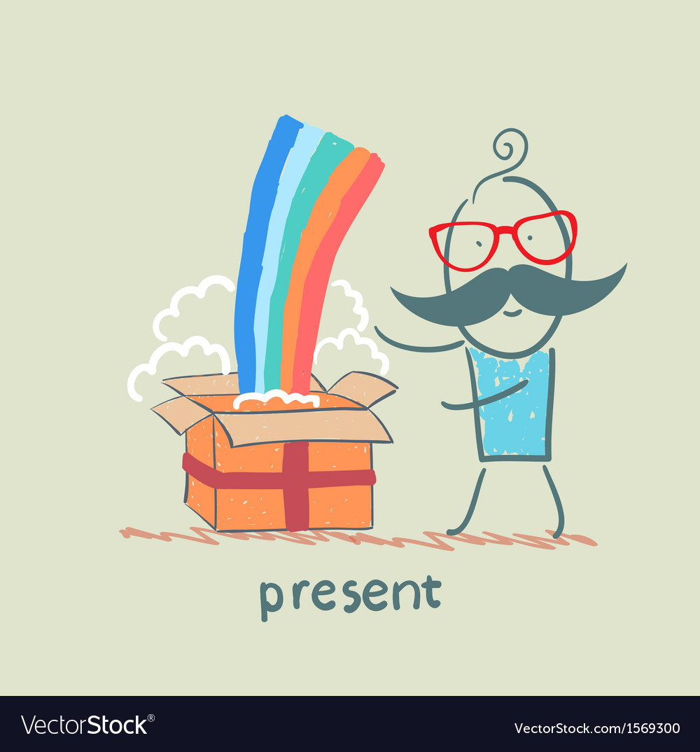 Man received a gift with a rainbow vector | Price: 1 Credit (USD $1)