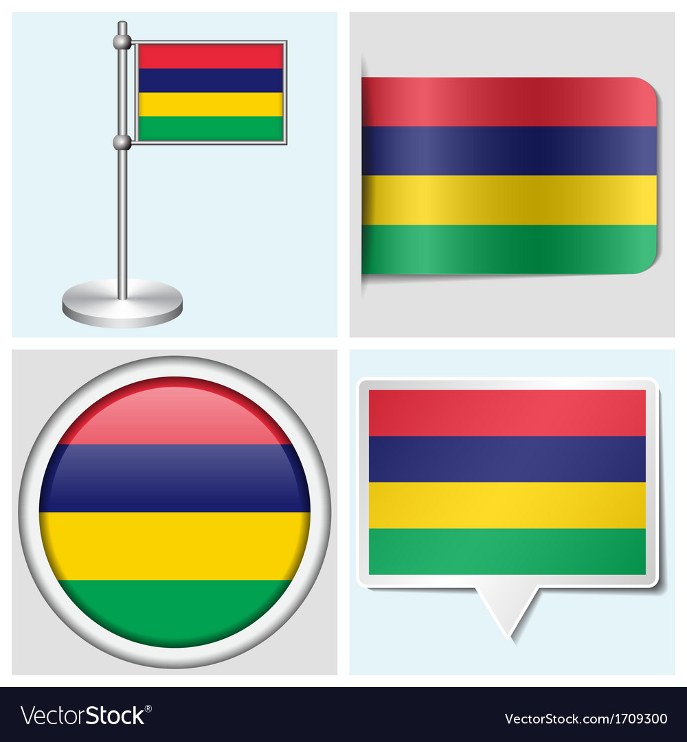 Mauritius flag - sticker button label flagstaff vector | Price: 1 Credit (USD $1)