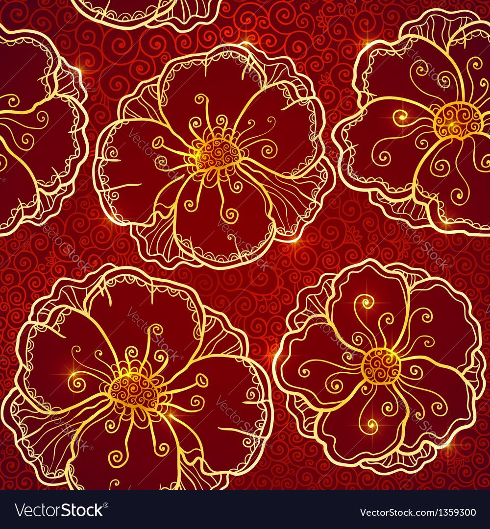 Ornate vinous flowers seamless pattern vector | Price: 1 Credit (USD $1)
