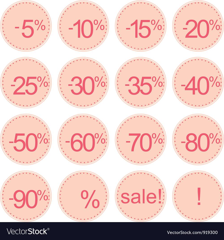 Retro pink sale icons vector | Price: 1 Credit (USD $1)