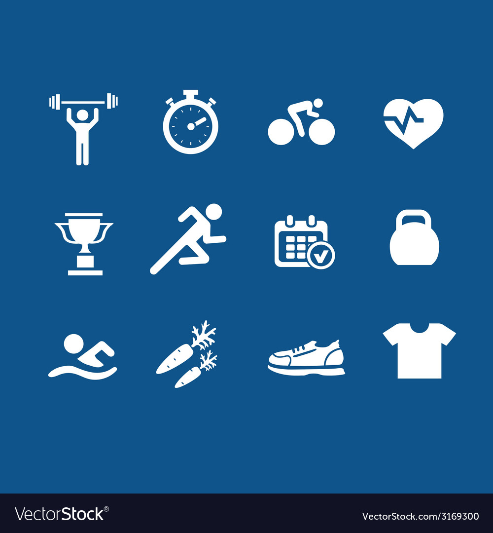 Set health and fitness icons vector | Price: 1 Credit (USD $1)