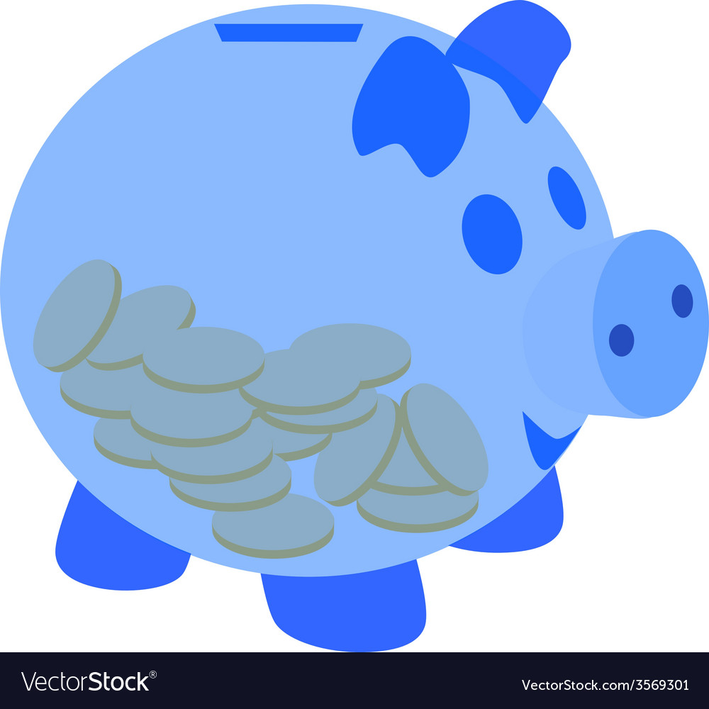 Blue piggy bank with coins vector   Price: 1 Credit (USD $1)