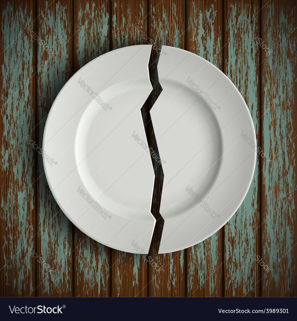 Broken white plate on old wooden table vector | Price: 1 Credit (USD $1)