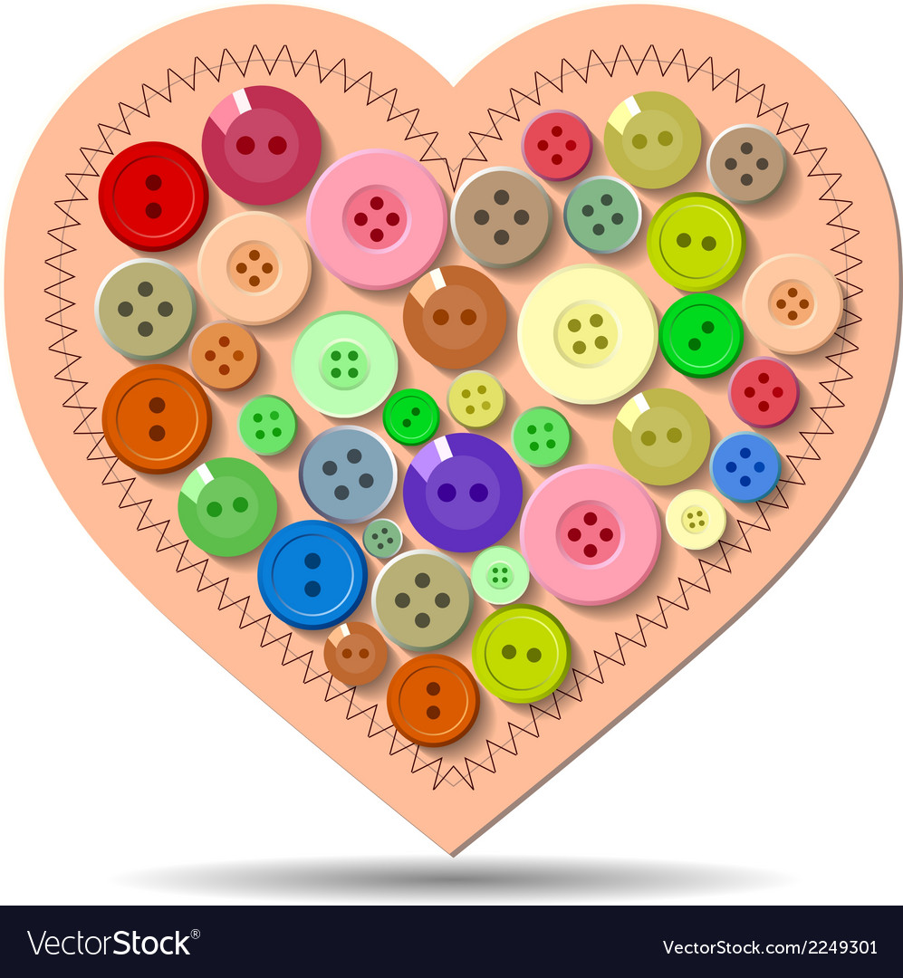 Buttons heart valentine vector | Price: 1 Credit (USD $1)