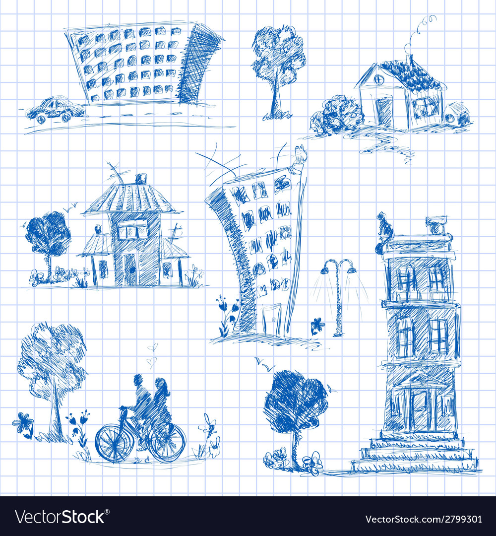 City doodle set vector | Price: 1 Credit (USD $1)