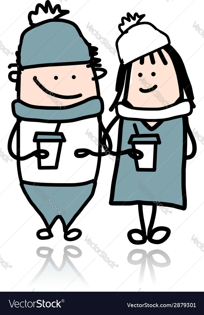Couple walking with coffee cups cartoon for your vector | Price: 1 Credit (USD $1)