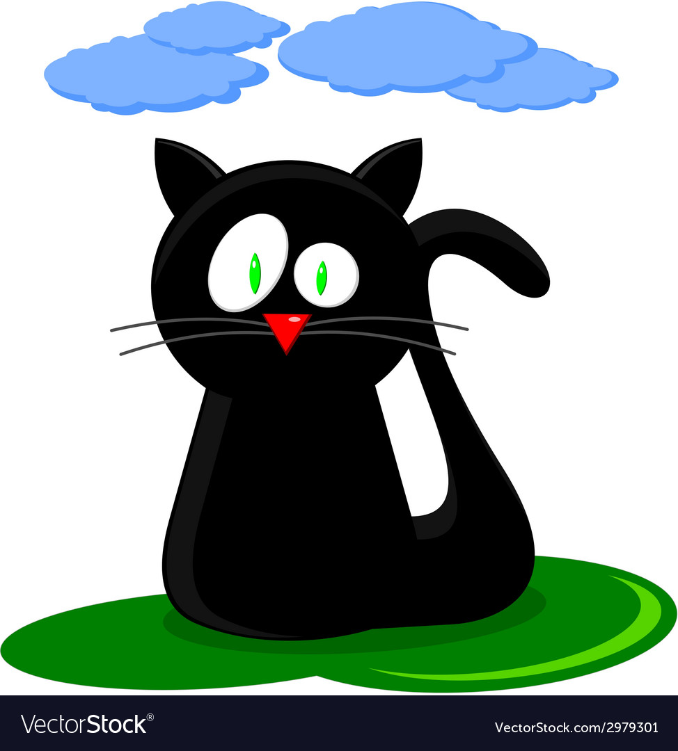 Cute black cat cartoon vector | Price: 1 Credit (USD $1)
