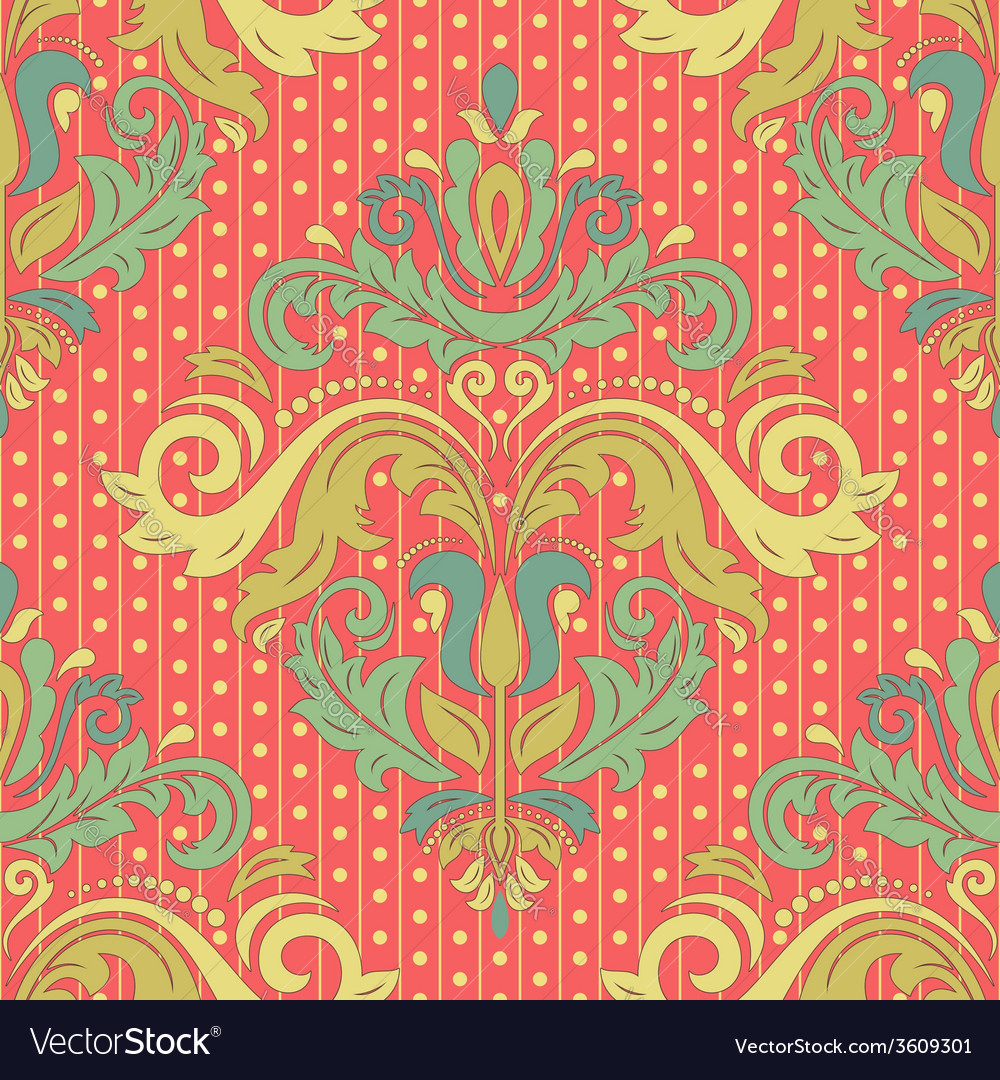 Damask seamless pattern colorful background vector | Price: 1 Credit (USD $1)
