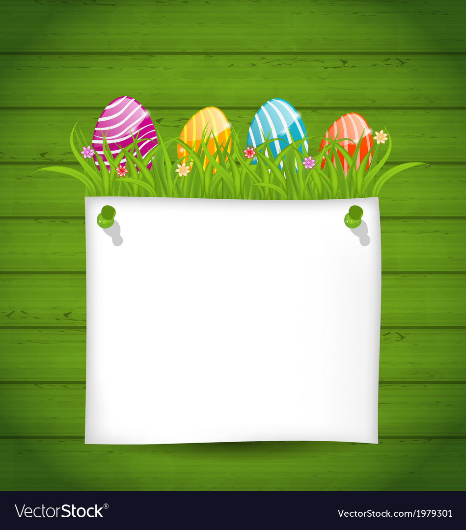 Easter colorful eggs in green grass with empty vector | Price: 1 Credit (USD $1)